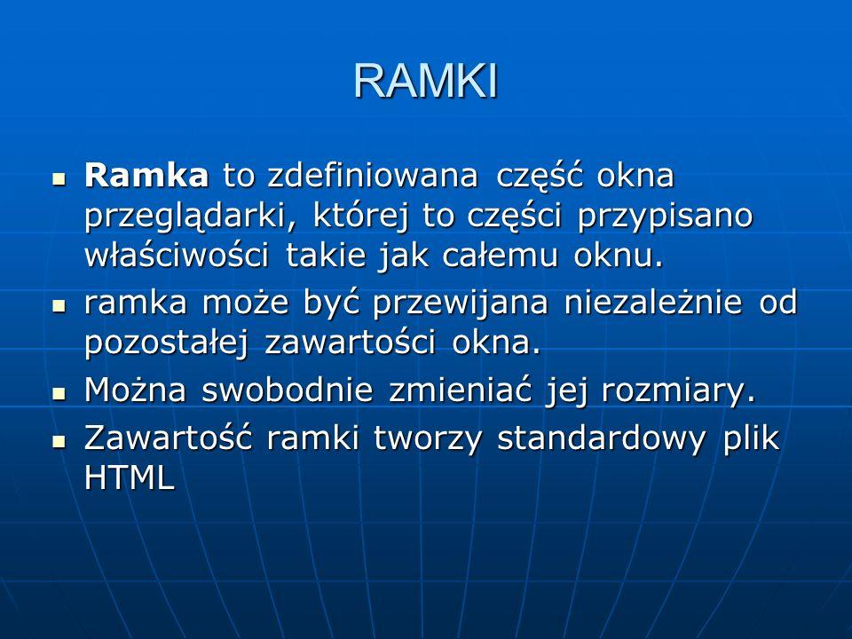 RAMKI Ramka to zdefiniowana część okna przeglądarki, której to części przypisano właściwości takie jak całemu oknu. Ramka to zdefiniowana część okna p