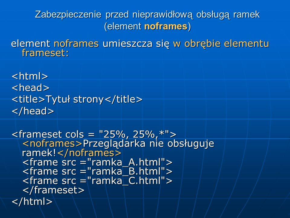 Zabezpieczenie przed nieprawidłową obsługą ramek (element noframes) element noframes umieszcza się w obrębie elementu frameset: <html><head> Tytuł str