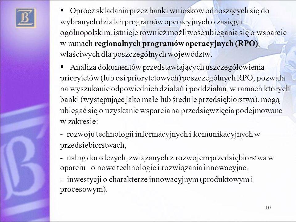 10 Oprócz składania przez banki wniosków odnoszących się do wybranych działań programów operacyjnych o zasięgu ogólnopolskim, istnieje również możliwo