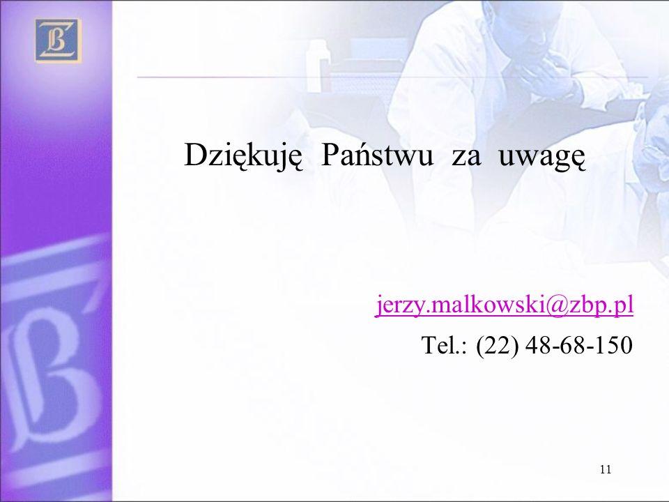 11 Dziękuję Państwu za uwagę jerzy.malkowski@zbp.pl Tel.: (22) 48-68-150