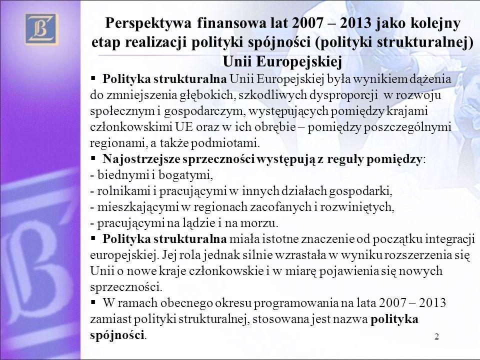 2 Perspektywa finansowa lat 2007 – 2013 jako kolejny etap realizacji polityki spójności (polityki strukturalnej) Unii Europejskiej Polityka strukturalna Unii Europejskiej była wynikiem dążenia do zmniejszenia głębokich, szkodliwych dysproporcji w rozwoju społecznym i gospodarczym, występujących pomiędzy krajami członkowskimi UE oraz w ich obrębie – pomiędzy poszczególnymi regionami, a także podmiotami.