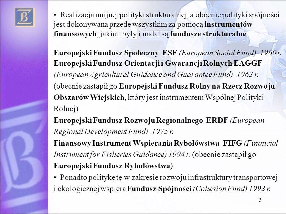 3 Realizacja unijnej polityki strukturalnej, a obecnie polityki spójności jest dokonywana przede wszystkim za pomocą instrumentów finansowych, jakimi były i nadal są fundusze strukturalne: Europejski Fundusz Społeczny ESF (European Social Fund) 1960 r.