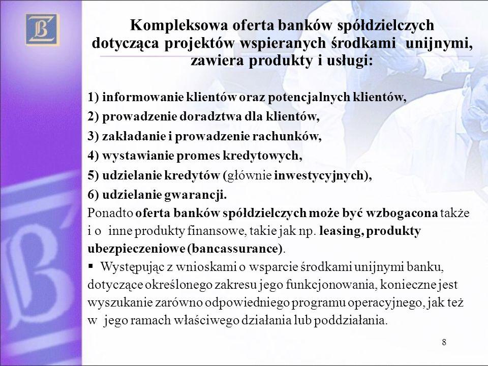 8 Kompleksowa oferta banków spółdzielczych dotycząca projektów wspieranych środkami unijnymi, zawiera produkty i usługi: 1) informowanie klientów oraz potencjalnych klientów, 2) prowadzenie doradztwa dla klientów, 3) zakładanie i prowadzenie rachunków, 4) wystawianie promes kredytowych, 5) udzielanie kredytów (głównie inwestycyjnych), 6) udzielanie gwarancji.