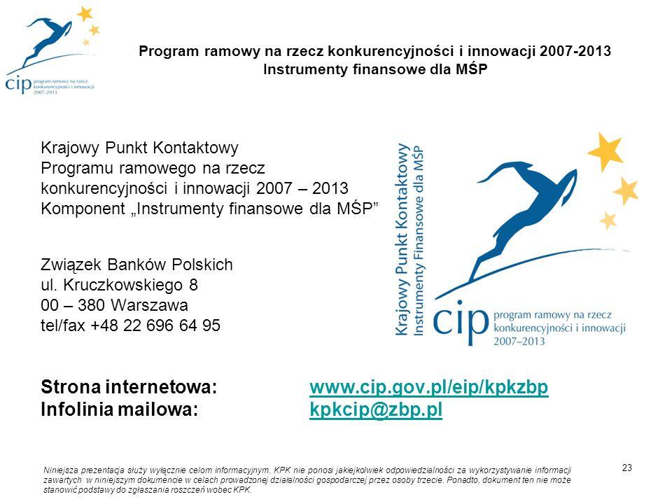 Krajowy Punkt Kontaktowy Programu ramowego na rzecz konkurencyjności i innowacji 2007 – 2013 Komponent Instrumenty finansowe dla MŚP Związek Banków Po