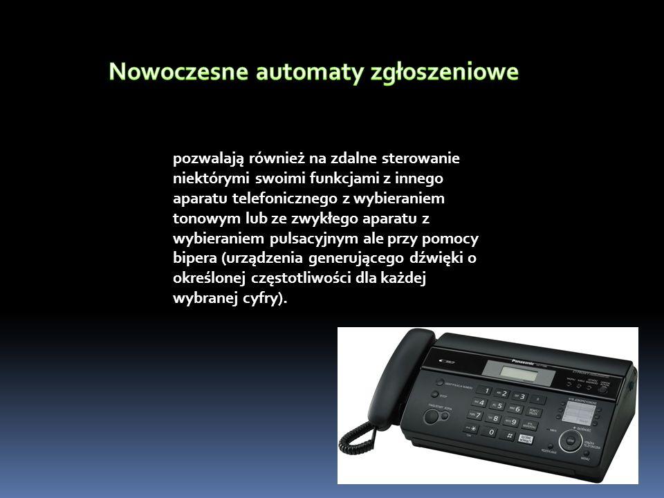 pozwalają również na zdalne sterowanie niektórymi swoimi funkcjami z innego aparatu telefonicznego z wybieraniem tonowym lub ze zwykłego aparatu z wybieraniem pulsacyjnym ale przy pomocy bipera (urządzenia generującego dźwięki o określonej częstotliwości dla każdej wybranej cyfry).