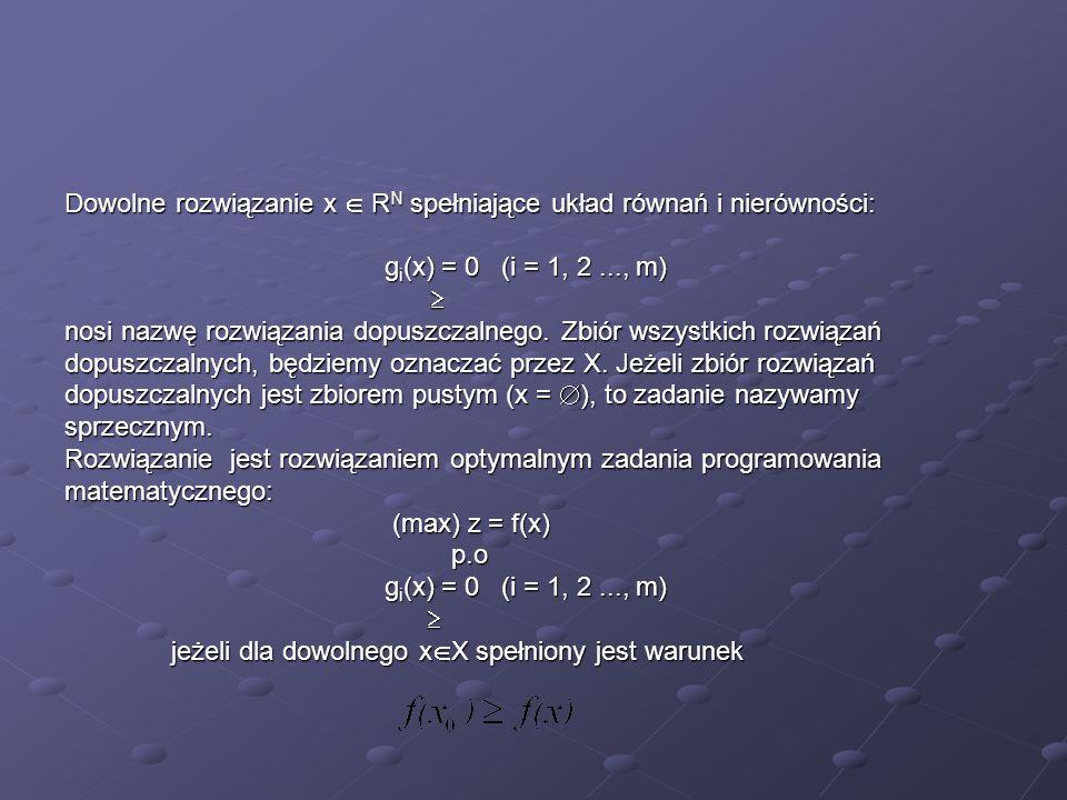 Dowolne rozwiązanie x R N spełniające układ równań i nierówności: g i (x) = 0 (i = 1, 2..., m) nosi nazwę rozwiązania dopuszczalnego. Zbiór wszystkich