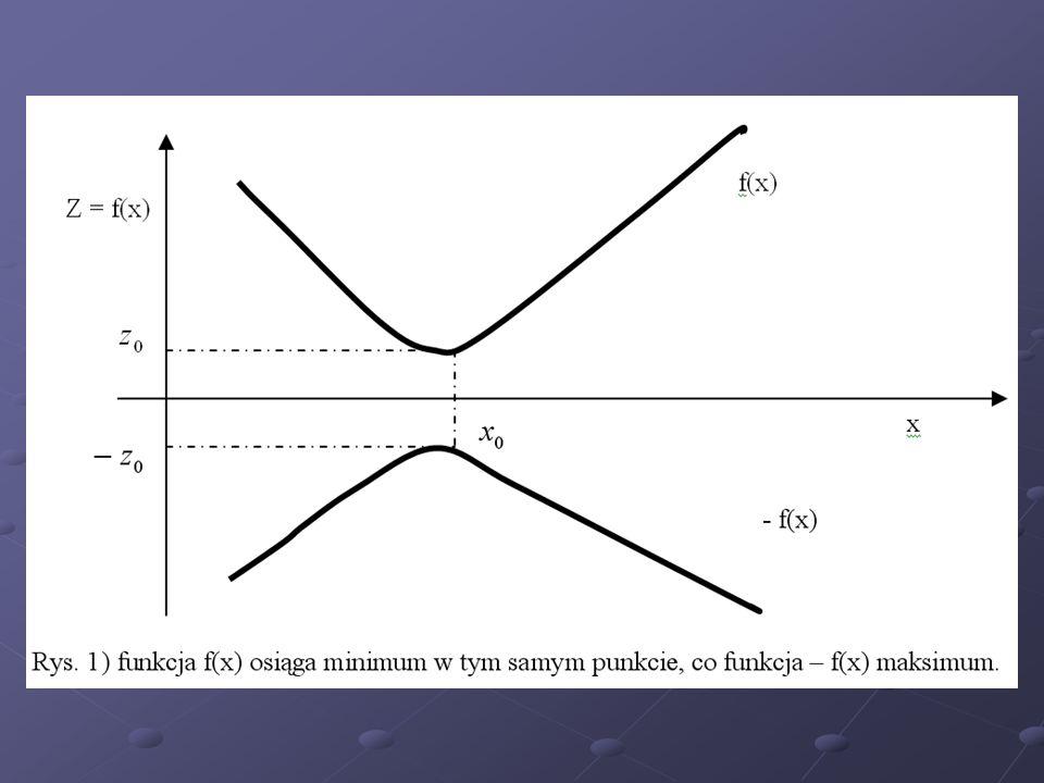 Przykład (min) z = przy warunkach ograniczających: jest równoważne zadaniu z tym samym warunkiem ograniczającym.