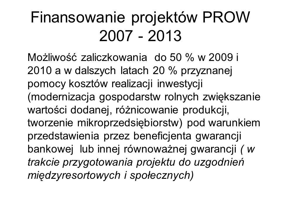 Finansowanie projektów PROW 2007 - 2013 Możliwość zaliczkowania do 50 % w 2009 i 2010 a w dalszych latach 20 % przyznanej pomocy kosztów realizacji in