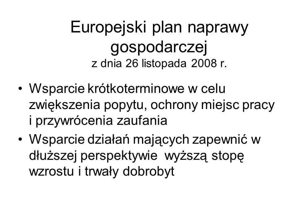 Europejski plan naprawy gospodarczej z dnia 26 listopada 2008 r. Wsparcie krótkoterminowe w celu zwiększenia popytu, ochrony miejsc pracy i przywrócen