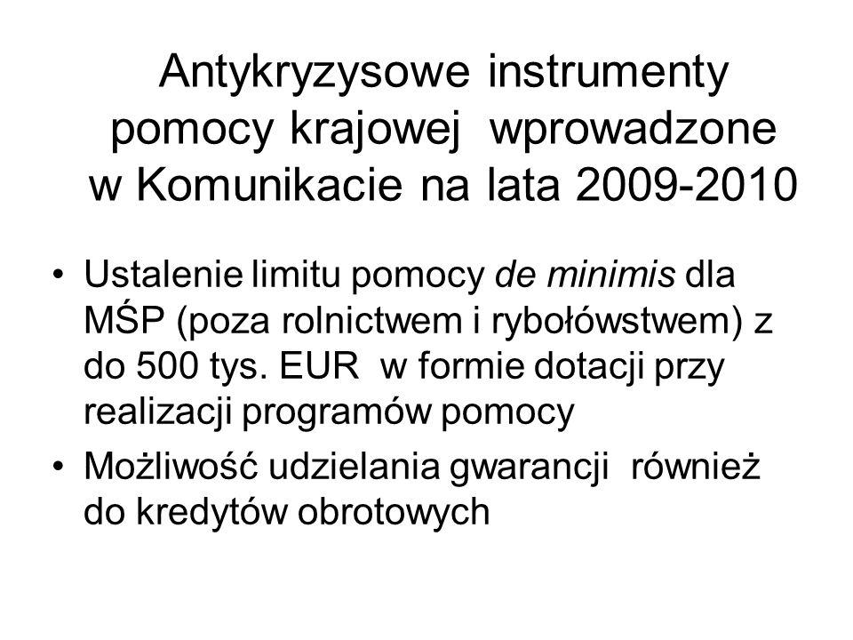 Antykryzysowe instrumenty pomocy krajowej wprowadzone w Komunikacie na lata 2009-2010 Ustalenie limitu pomocy de minimis dla MŚP (poza rolnictwem i ry