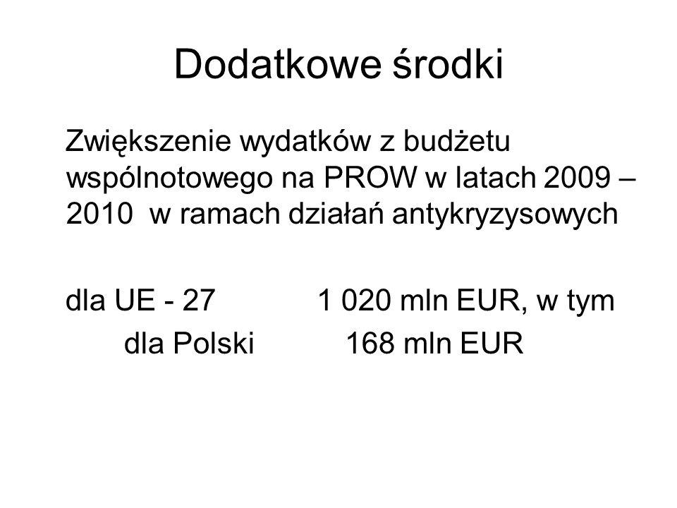 Dodatkowe środki Zwiększenie wydatków z budżetu wspólnotowego na PROW w latach 2009 – 2010 w ramach działań antykryzysowych dla UE - 27 1 020 mln EUR,