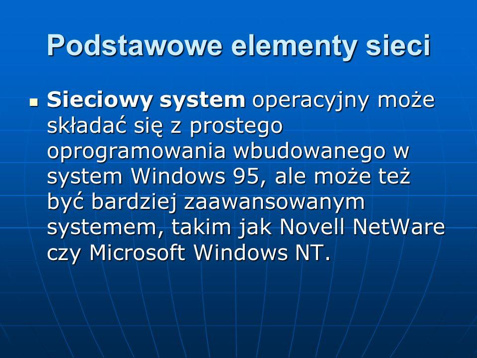 Podstawowe elementy sieci Sieciowy system operacyjny może składać się z prostego oprogramowania wbudowanego w system Windows 95, ale może też być bard