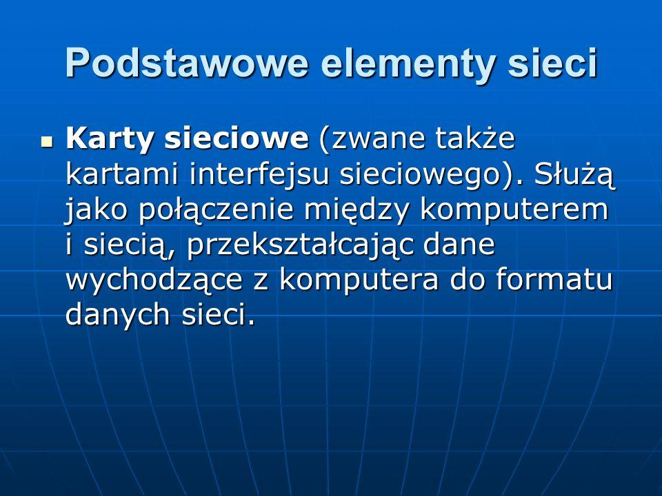 Podstawowe elementy sieci Koncentratory (zwane także węzłami okablowania).