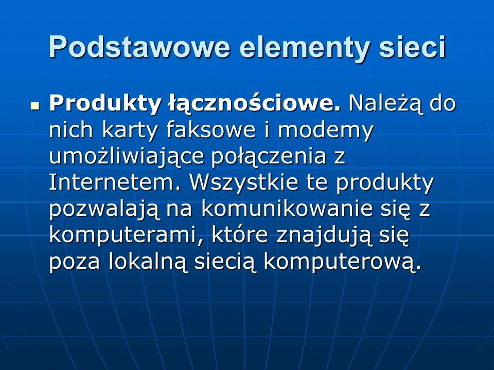 Podstawowe elementy sieci Produkty łącznościowe. Należą do nich karty faksowe i modemy umożliwiające połączenia z Internetem. Wszystkie te produkty po