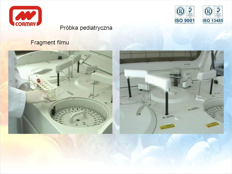 Fragment filmu Wstawienie kubeczka pediatrycznego (2:34-2:54) Pobieranie z kubeczka pediatrycznego 4:04 – 4:07) Próbka pediatryczna