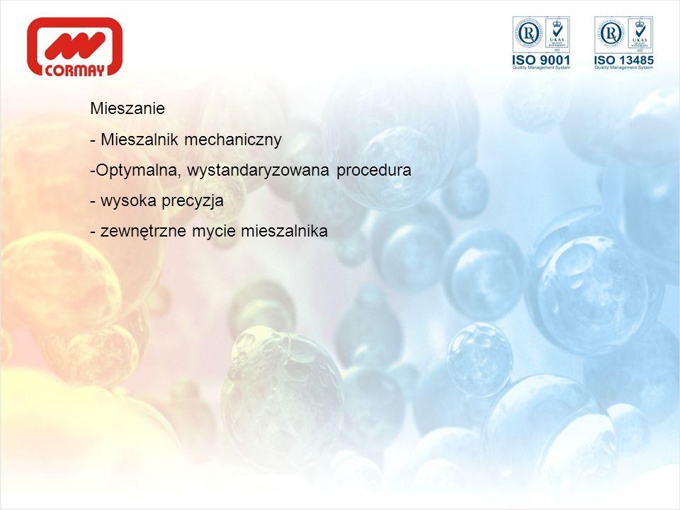 Mieszanie - Mieszalnik mechaniczny -Optymalna, wystandaryzowana procedura - wysoka precyzja - zewnętrzne mycie mieszalnika