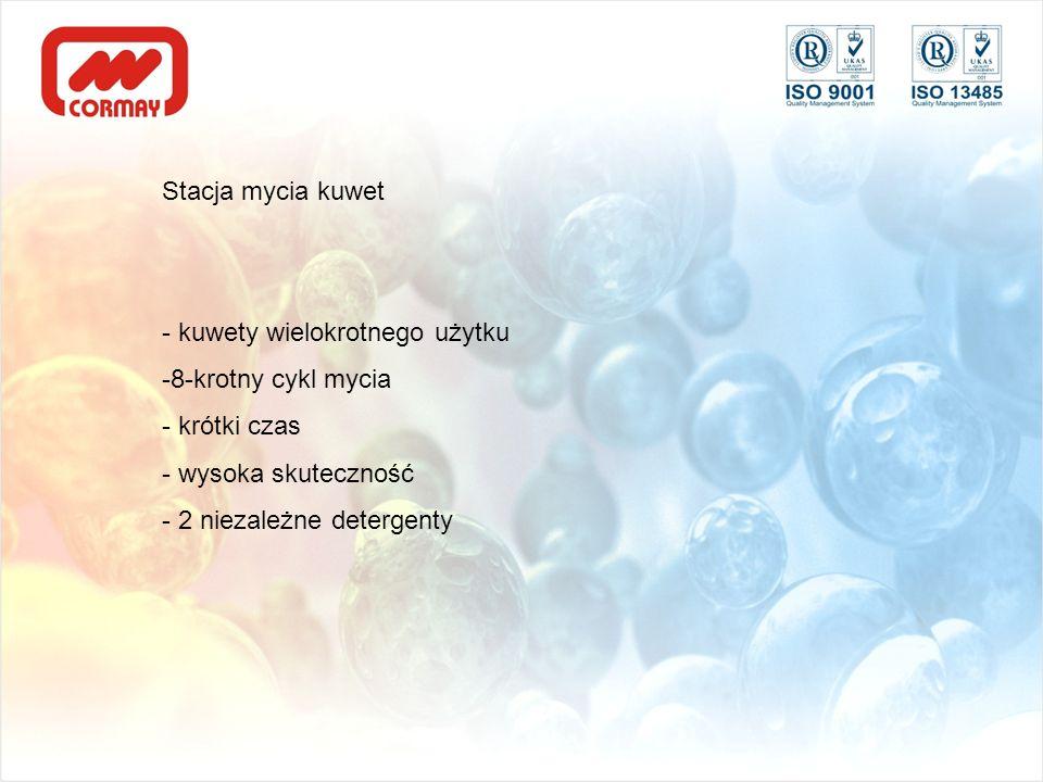 Stacja mycia kuwet - kuwety wielokrotnego użytku -8-krotny cykl mycia - krótki czas - wysoka skuteczność - 2 niezależne detergenty