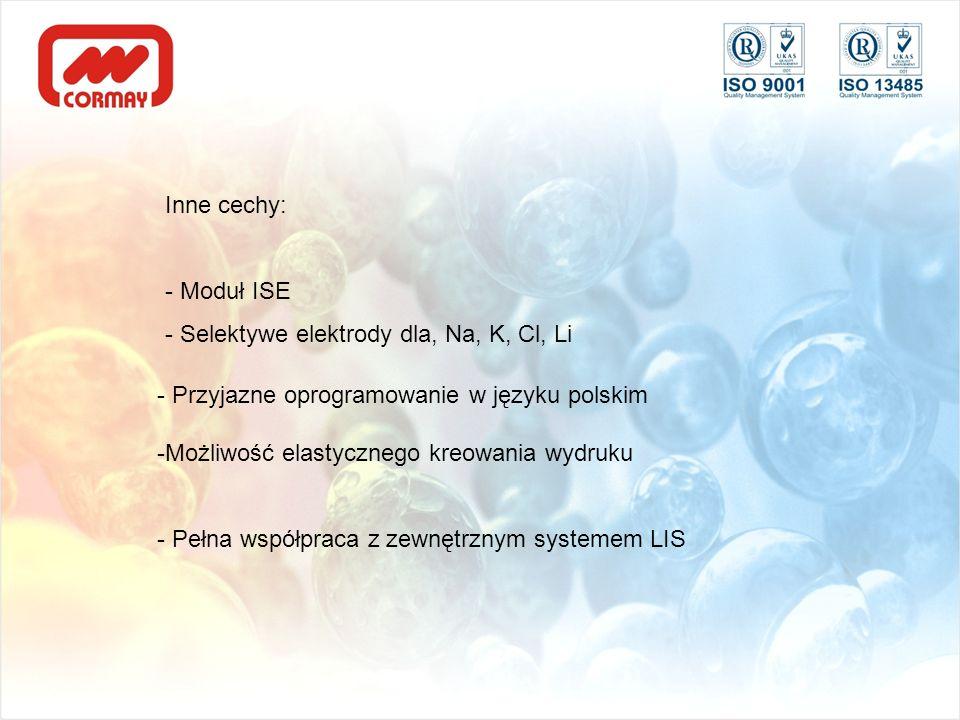 Inne cechy: - Moduł ISE - Selektywe elektrody dla, Na, K, Cl, Li - Przyjazne oprogramowanie w języku polskim -Możliwość elastycznego kreowania wydruku