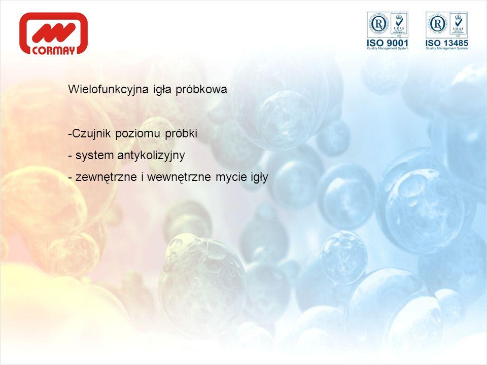 Wielofunkcyjna igła próbkowa -Czujnik poziomu próbki - system antykolizyjny - zewnętrzne i wewnętrzne mycie igły