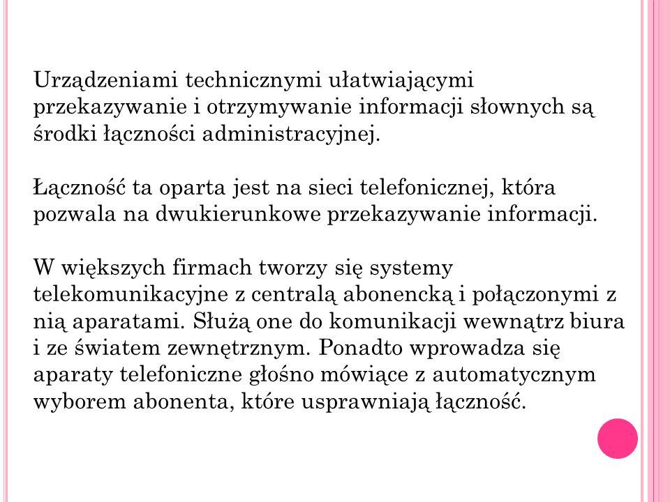 Do rejestracji rozmów telefonicznych służy automatyczna sekretarka.