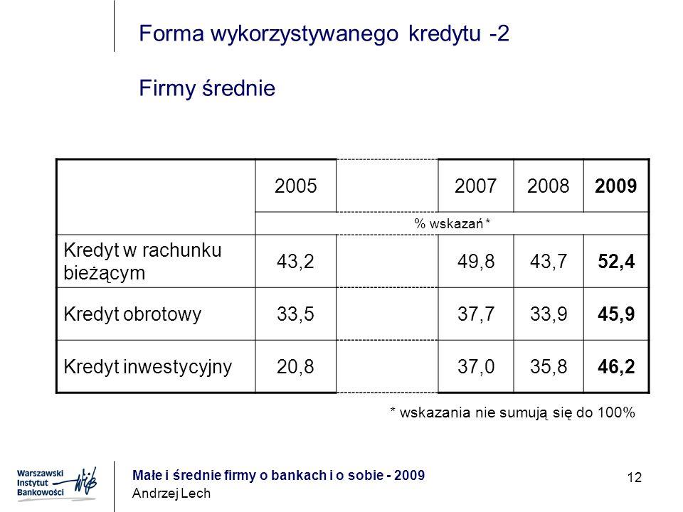Małe i średnie firmy o bankach i o sobie - 2009 Andrzej Lech 12 Forma wykorzystywanego kredytu -2 Firmy średnie 2005200720082009 % wskazań * Kredyt w rachunku bieżącym 43,249,843,752,4 Kredyt obrotowy33,537,733,945,9 Kredyt inwestycyjny20,837,035,846,2 * wskazania nie sumują się do 100%