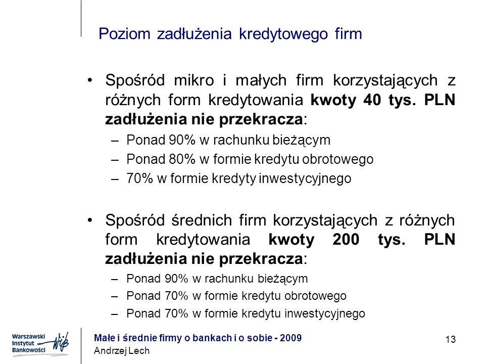 Małe i średnie firmy o bankach i o sobie - 2009 Andrzej Lech 13 Poziom zadłużenia kredytowego firm Spośród mikro i małych firm korzystających z różnych form kredytowania kwoty 40 tys.