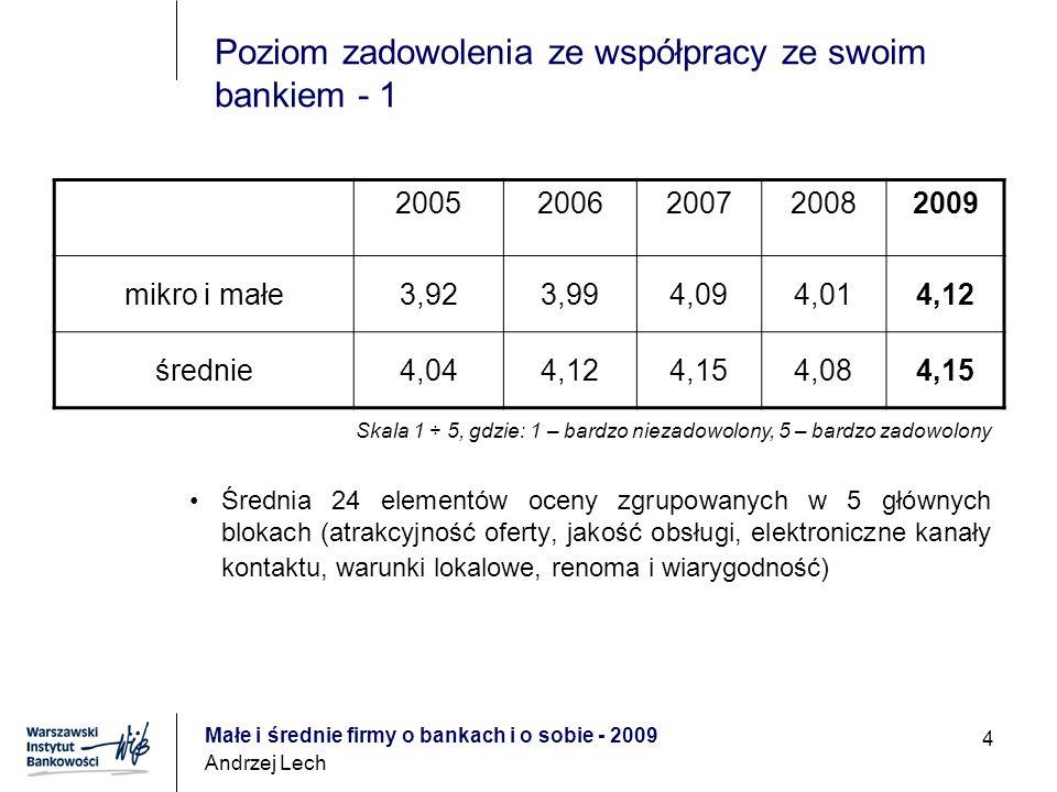 Małe i średnie firmy o bankach i o sobie - 2009 Andrzej Lech 15 Dlaczego nie korzystają z kredytu.