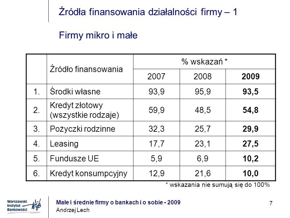Małe i średnie firmy o bankach i o sobie - 2009 Andrzej Lech 7 Źródła finansowania działalności firmy – 1 Firmy mikro i małe Źródło finansowania % wskazań * 200720082009 1.Środki własne93,995,993,5 2.