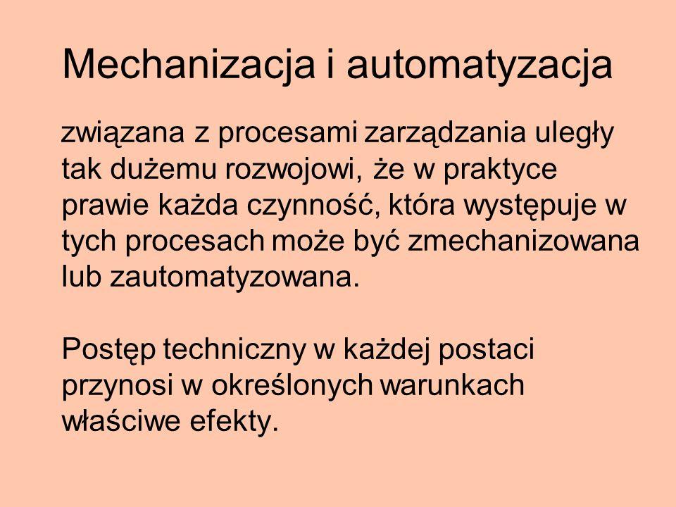 Mechanizacja i automatyzacja związana z procesami zarządzania uległy tak dużemu rozwojowi, że w praktyce prawie każda czynność, która występuje w tych