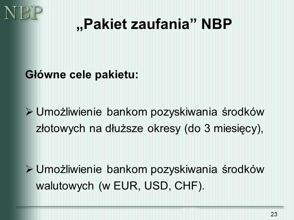 23 Pakiet zaufania NBP Główne cele pakietu: Umożliwienie bankom pozyskiwania środków złotowych na dłuższe okresy (do 3 miesięcy), Umożliwienie bankom