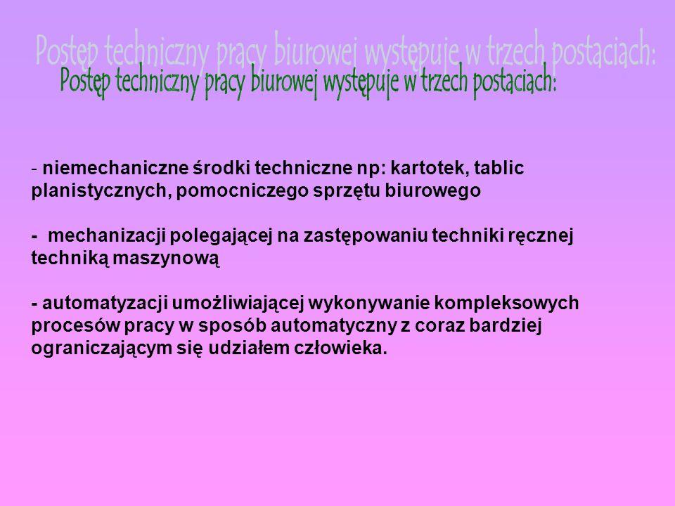 - niemechaniczne środki techniczne np: kartotek, tablic planistycznych, pomocniczego sprzętu biurowego - mechanizacji polegającej na zastępowaniu tech