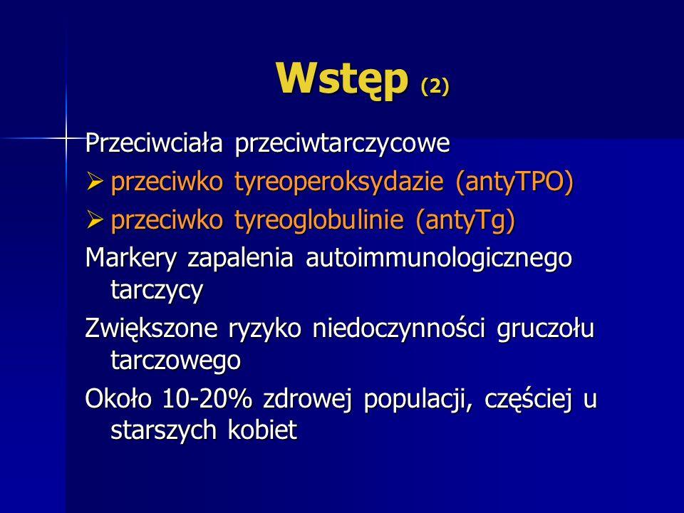 Wstęp (2) Przeciwciała przeciwtarczycowe przeciwko tyreoperoksydazie (antyTPO) przeciwko tyreoperoksydazie (antyTPO) przeciwko tyreoglobulinie (antyTg