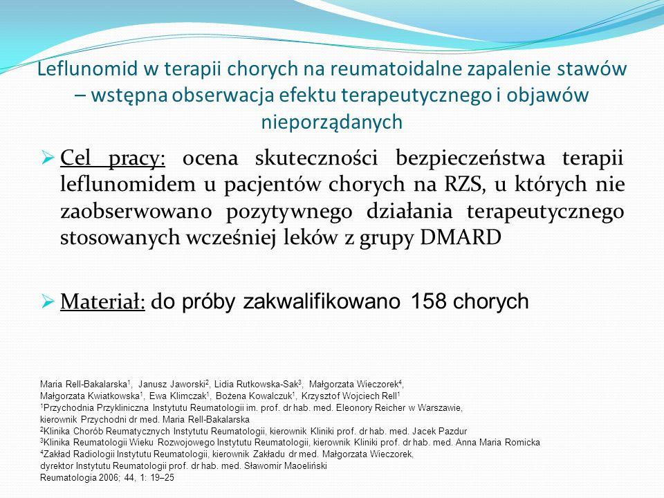 Leflunomid w terapii chorych na reumatoidalne zapalenie stawów – wstępna obserwacja efektu terapeutycznego i objawów nieporządanych Cel pracy: ocena s