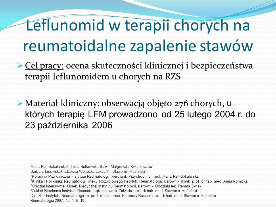 Leflunomid w terapii chorych na reumatoidalne zapalenie stawów Cel pracy: ocena skuteczności klinicznej i bezpieczeństwa terapii leflunomidem u choryc