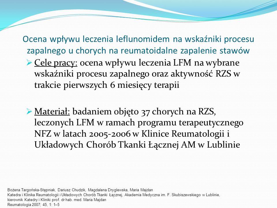Ocena wpływu leczenia leflunomidem na wskaźniki procesu zapalnego u chorych na reumatoidalne zapalenie stawów Cele pracy: ocena wpływu leczenia LFM na