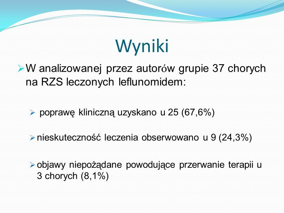 Wyniki W analizowanej przez autor ó w grupie 37 chorych na RZS leczonych leflunomidem: poprawę kliniczną uzyskano u 25 (67,6%) nieskuteczność leczenia