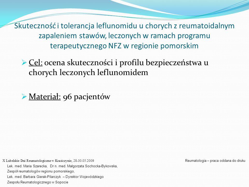 Skuteczność i tolerancja leflunomidu u chorych z reumatoidalnym zapaleniem stawów, leczonych w ramach programu terapeutycznego NFZ w regionie pomorski