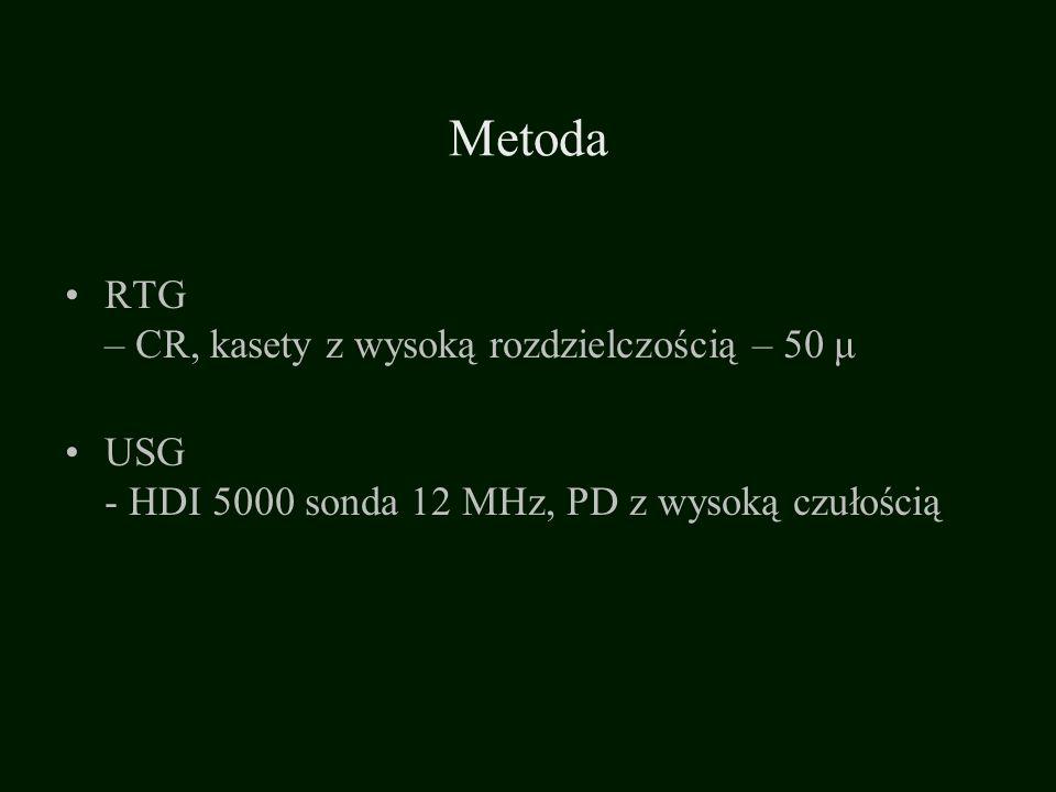 Metoda RTG – CR, kasety z wysoką rozdzielczością – 50 μ USG - HDI 5000 sonda 12 MHz, PD z wysoką czułością