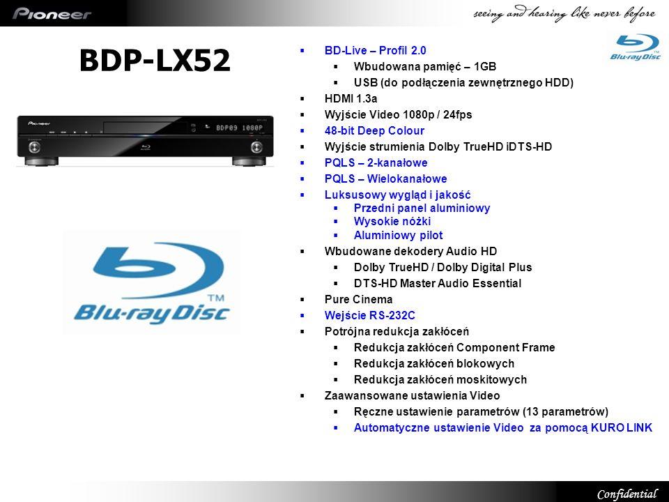 Confidential BDP-LX52 BD-Live – Profil 2.0 Wbudowana pamięć – 1GB USB (do podłączenia zewnętrznego HDD) HDMI 1.3a Wyjście Video 1080p / 24fps 48-bit D