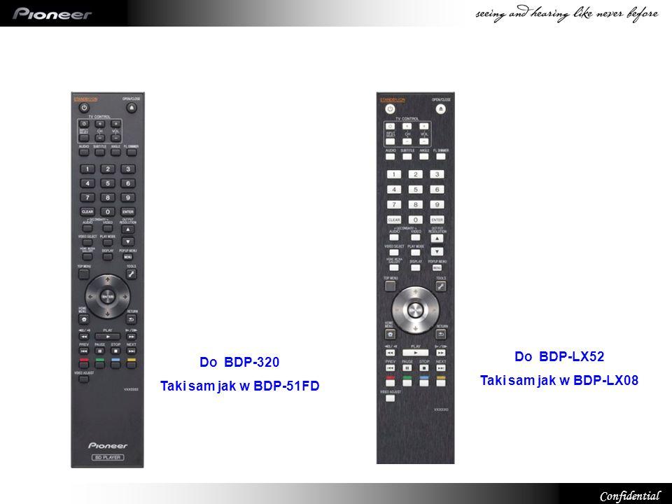 Confidential Do BDP-320 Taki sam jak w BDP-51FD Do BDP-LX52 Taki sam jak w BDP-LX08
