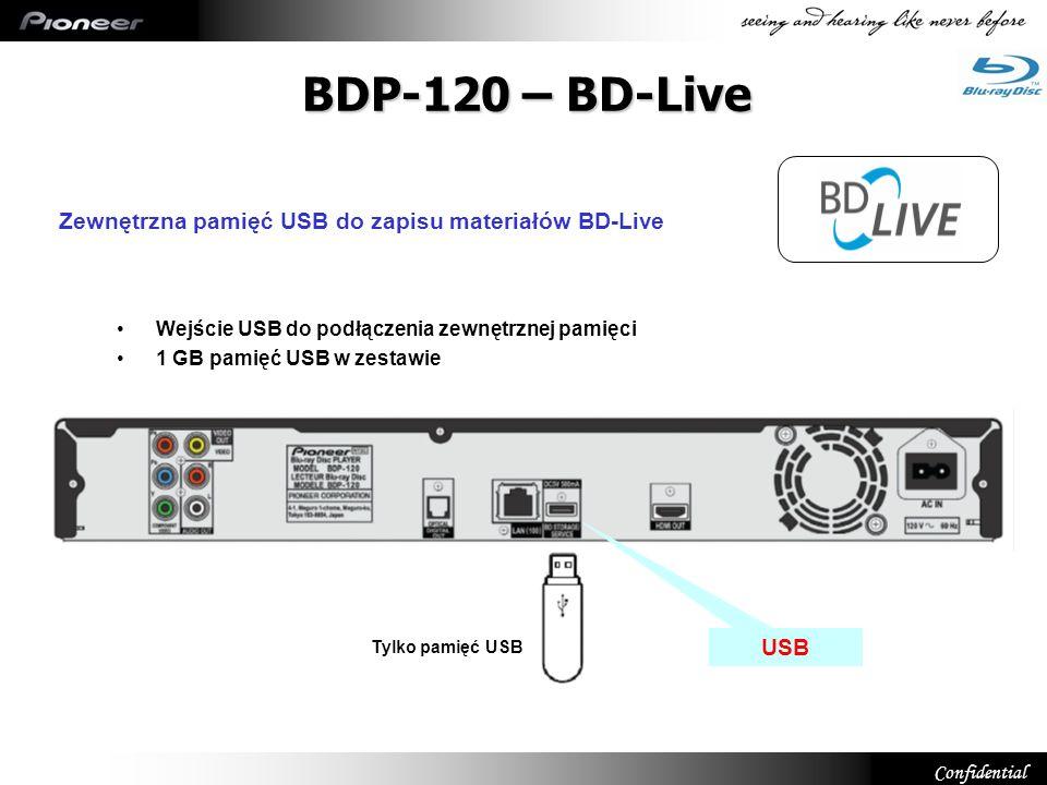 Confidential Wejście USB do podłączenia zewnętrznej pamięci 1 GB pamięć USB w zestawie USB BDP-120 – BD-Live Zewnętrzna pamięć USB do zapisu materiałó