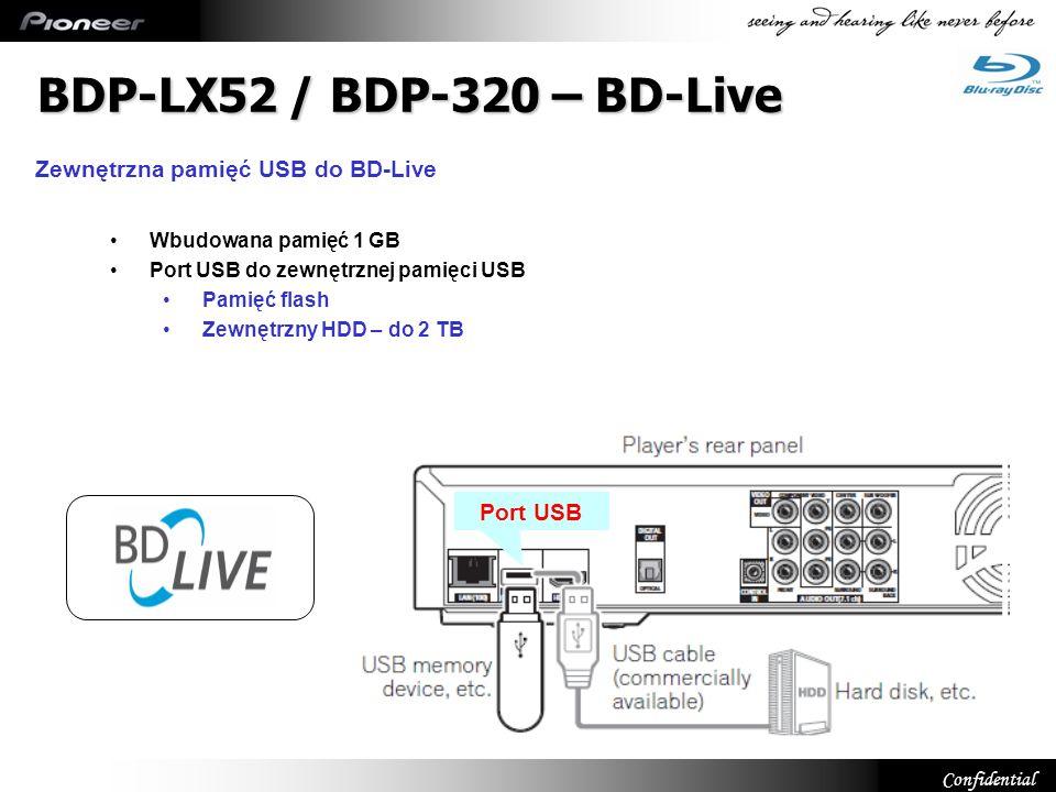 Confidential Wbudowana pamięć 1 GB Port USB do zewnętrznej pamięci USB Pamięć flash Zewnętrzny HDD – do 2 TB Port USB BDP-LX52 / BDP-320 – BD-Live Zew
