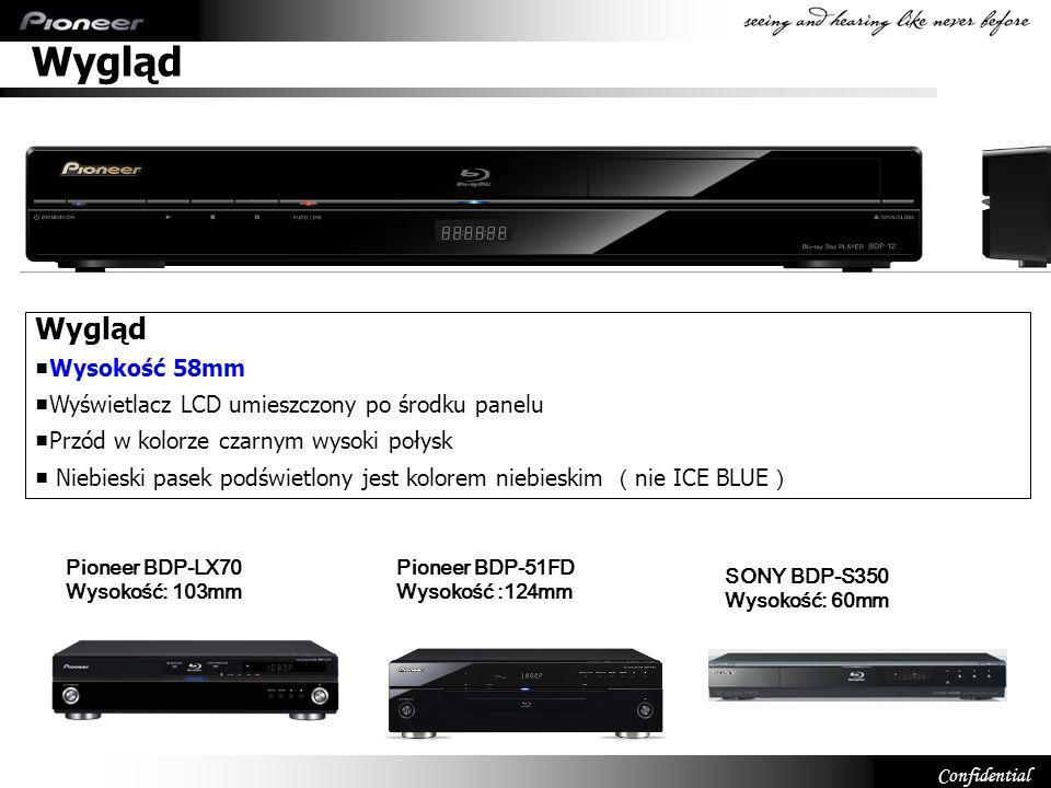 Confidential Wygląd Wysokość 58mm Wyświetlacz LCD umieszczony po środku panelu Przód w kolorze czarnym wysoki połysk Niebieski pasek podświetlony jest