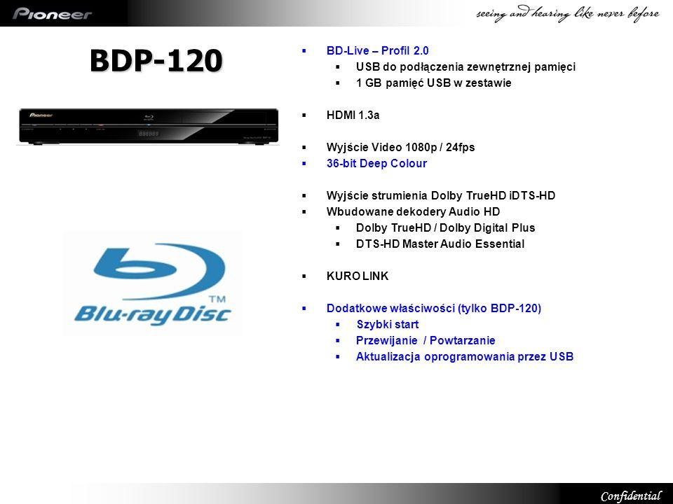 Confidential BDP-120 Quick Start Włączona funkcja Quick Start = redukcja czasu uruchomienia urządzenia Większy pobór prądu podczas uśpienia (11W) Przewijanie / Powtarzanie Przeskakiwanie scen/ powtarzanie scen Dedykowane przyciski na pilocie Aktualizacja za pomocą USB