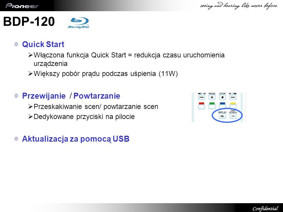 Confidential BDP-120 Quick Start Włączona funkcja Quick Start = redukcja czasu uruchomienia urządzenia Większy pobór prądu podczas uśpienia (11W) Prze