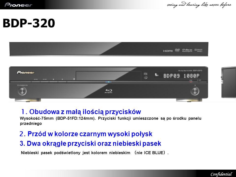 Confidential BDP-320 BD-Live – Profil 2.0 Wbudowana pamięć – 1GB USB (do podłączenia zewnętrznego HDD) HDMI 1.3a Wyjście Video 1080p / 24fps 48-bit Deep Colour Wyjście strumienia Dolby TrueHD iDTS-HD PQLS – 2-kanałowe Wbudowane dekodery Audio HD Dolby TrueHD / Dolby Digital Plus DTS-HD Master Audio Essential Pure Cinema Potrójna redukcja zakłóceń Redukcja zakłóceń Component Frame Redukcja zakłóceń blokowych Redukcja zakłóceń moskitowych Zaawansowane ustawienia Video Ręczne ustawienie parametrów (13 parametrów) Automatyczne ustawienie Video za pomocą KURO LINK