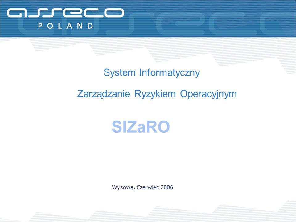 System Informatyczny Zarządzanie Ryzykiem Operacyjnym SIZaRO Wysowa, Czerwiec 2006