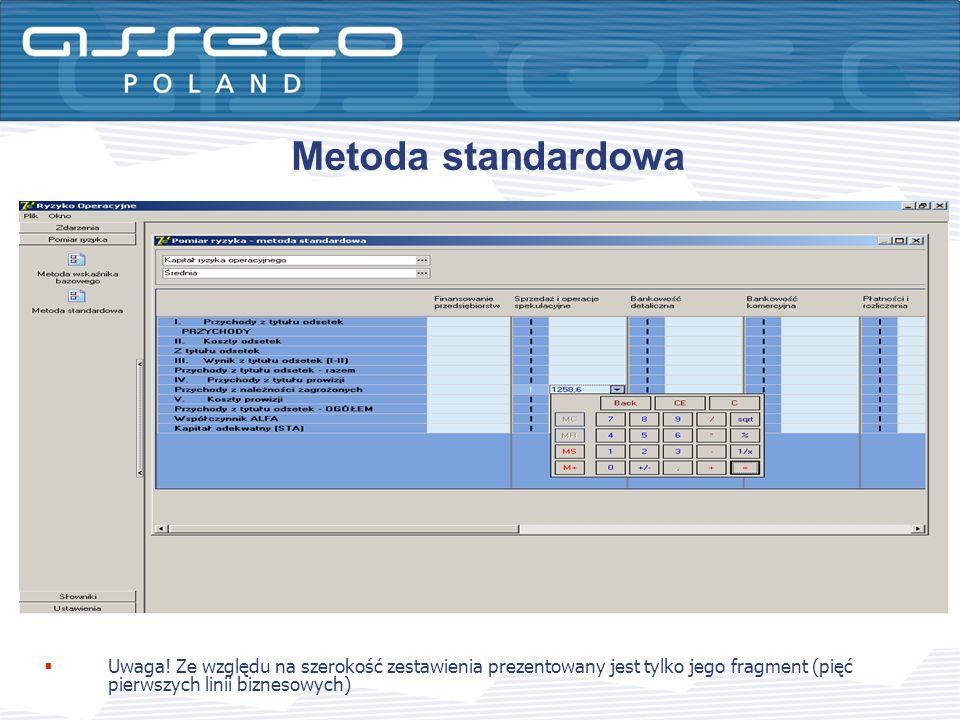 Uwaga! Ze względu na szerokość zestawienia prezentowany jest tylko jego fragment (pięć pierwszych linii biznesowych) Metoda standardowa