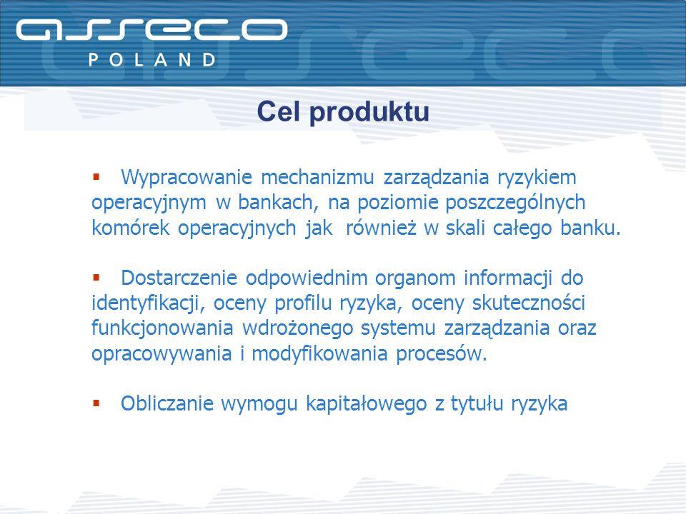 Cel produktu Wypracowanie mechanizmu zarządzania ryzykiem operacyjnym w bankach, na poziomie poszczególnych komórek operacyjnych jak również w skali c