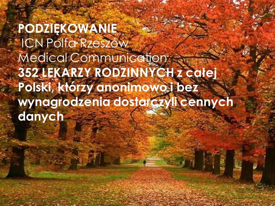 PODZIĘKOWANIE ICN Polfa Rzeszów Medical Communication 352 LEKARZY RODZINNYCH z całej Polski, którzy anonimowo i bez wynagrodzenia dostarczyli cennych